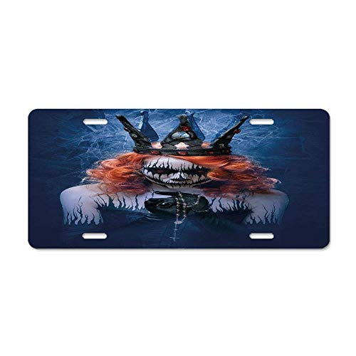 Queen,Queen of Death Scary Body Art Halloween Evil Face Bizarre Make Up Zombie,Navy Blue Orange Black Personalized Front License Plate Cover Vanity Aluminum Metal Car Tag (12 X -