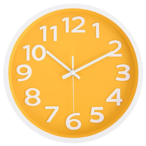 Rysunle 12 Inch Modern Wall Clock, Silent Non-Ticking Battery Operated Quartz Decorative Wall Clocks for Living Room…