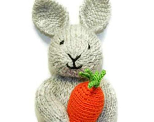 Easter Knitted Bunny Plush Stuffed Animal for Kids with Carrot 8 inches