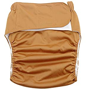 Adult Cloth Diaper – Washable Leakproof Elderly Nursing Nappy,Velcro Adjustable Reusable Leakfree Diaper Pants,Brown