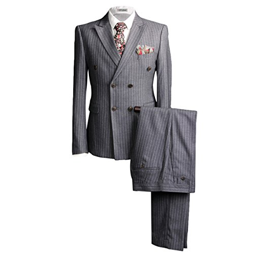 YFFUSHI Mens Stylish Double Breasted Two Button 3-piece Suit Slim Grey Pinstripe