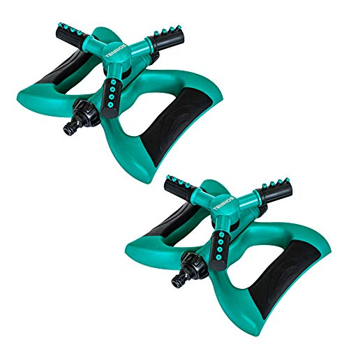 TENRIOS Lawn Sprinkler, Automatic 360 Rotating Garden Sprinkler Adjustable Irrigation System with Three Arms and Large Area of Coverage (2 Pack)