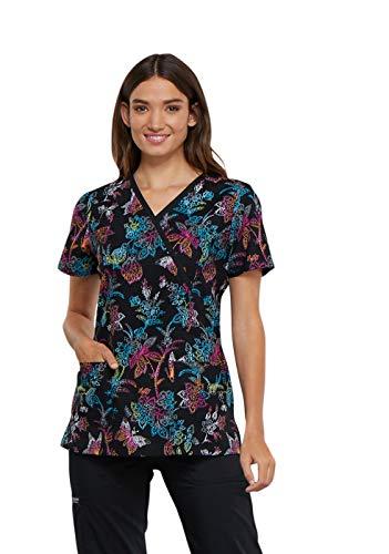 Cherokee Fashion Prints Women's Mock Wrap Rainbow Print Scrub Top XXXXX-Large Print