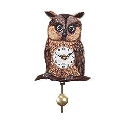 German Quartz Pendulum Clock Owl, Miniature 6 Inch