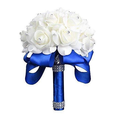 Wedding Bouquets Flowers Crystal Pearl Silk Roses Bridesmaid Bouquet Flowers (8.27 x 9.84 Inch, Blue) - Silk Rose Wedding Bouquets