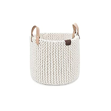 Image of Baby UGG Tulum Handmade Cotton Rope Storage Basket with Leather Handles, Natural, Extra Large