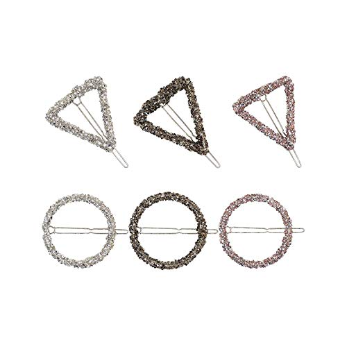 1 Pcs Women Hair Clips Barrettes Hair Styling Accessories Star Triangle Round Shape Fashion Crystal Rhinestones Hairpin Suit All,triangle pink