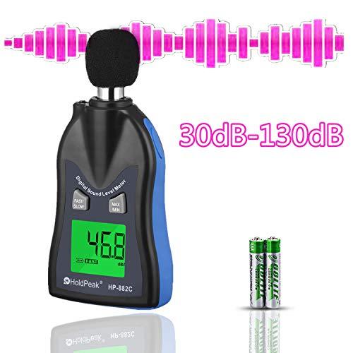 HOLDPEAK 882C Decibel Meter,Digital Sound Level Meter 30-130dBA,Noise Volume Measuring Instrument Decibel Monitoring Tester,Max/Min Hold Data,Sensor LCD Backlight Display(Battery Included)