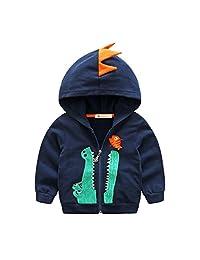 Dealone Baby Boys Long Sleeve Dinosaur Hoodies Kids Sweatshirt Toddler Zip-up Jacket