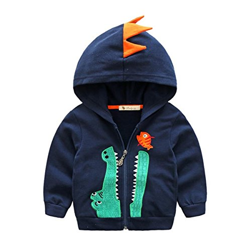 Baby Boys Long Sleeve Dinosaur Hoodies Kids Sweatshirt Toddler Zip-up Jacket, Navy,4T/5T