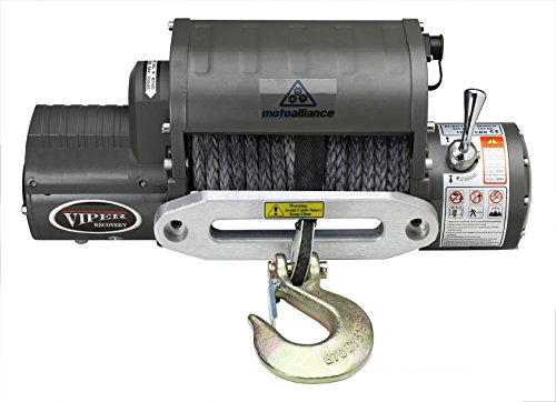 VIPER Winch 12000lb, BLACK synthetic rope and hawse, integrated contactor/solenoid, wireless remote