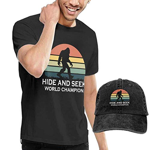 Bigfoot Value T-shirt - Hide and Seek World Champion Bigfoot Tshirt Short Sleeve Denim Hat Men