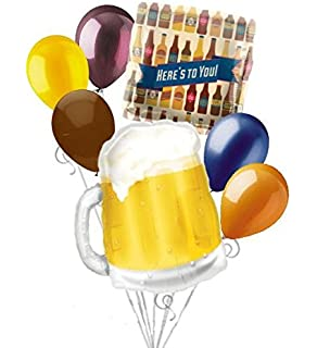 7 Pc Beer Mug Heres To You Balloon Bouquet Happy Birthday Graduation Dad Party