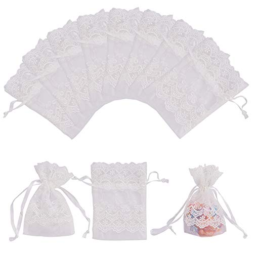 PH PandaHall 12PCS 3.5x5.5 Lace Organza Gift Bags with Drawstring Wedding Party Favor Jewelry Gift Bags Pouches (Ivory White)