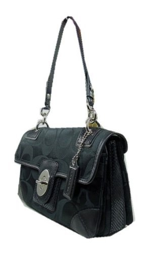 Coach Peyton Signature C Sateen Flap Hobo Style Handbag with Snake Embossed Leather Trim Style 14504 Black