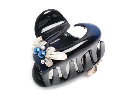 Helen Accessories -Hair accessories for women- Made in Korea- Secret Garden Shark Tooth Grip Royal Blue Hair Claw-
