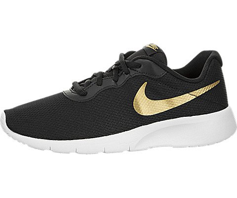 newest 6ab69 b6af7 Nike Kids Tanjun (GS) Black Metallic Gold White Running Shoe 4.5 Kids