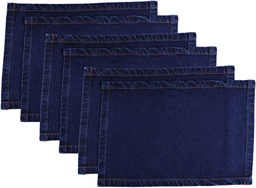 Atmos Green 6 Pack Placemat Pre-Washed Indigo Color Denim 19x13 inch Size 11oz Thick 100% Cotton Everyday use Dining, Wedding, Events, Restaurant, Catering, Special Occasions, Picnic