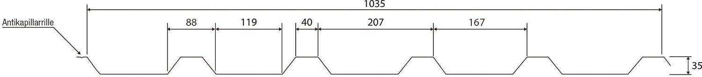 Trapezblech Material Stahl St/ärke 0,40 mm Profil PS45//1000TR Beschichtung 25 /µm Farbe Sepiabraun Dachblech Profilblech