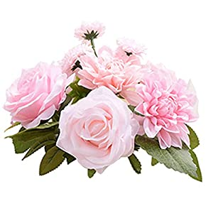 LeLehome Bridal Bouquet Flower Arrangement Home Decorative Real Touch Silk Artificial Flowers- Rose,for Daisy,Dahlia,Wedding Decoration,Hotel Party Garden-Pink 70