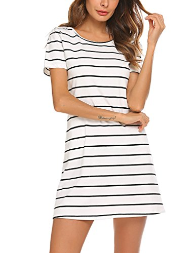 l Striped Criss Cross Short Sleeve T Shirt Dress with Pockets (L, White) ()