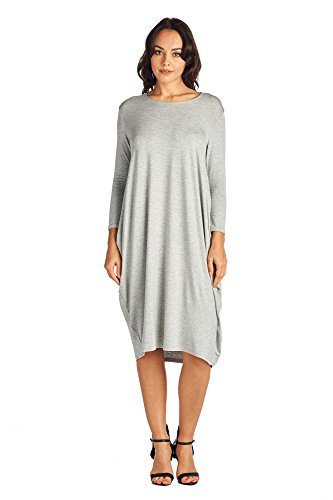 82 Long Days Dresses Comfortable Gray Women's Various Jersey Mid Styles Heather rqr0ZRxwA