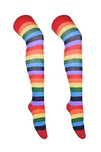 Thigh High Stockings Fashion Striped Over Knee Cosplay Socks for Women rainbow (Rainbow Thigh High Tights)