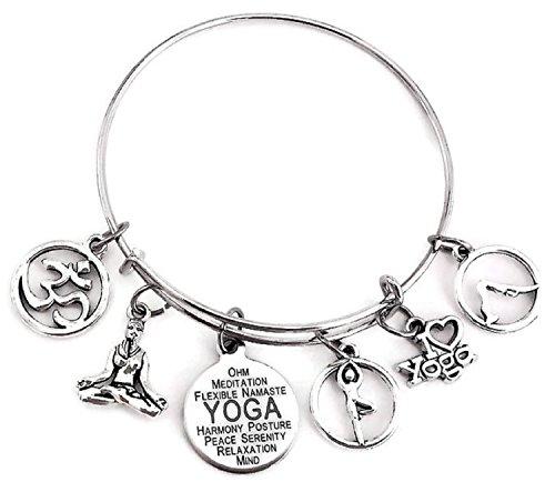 Kit's Kiss Yoga Bracelet, Yoga Jewelry, I Love Yoga Bracelet, Om Charm Bracelet, Namaste Bracelet, Namaste Symbol Bracelet, Yoga Instructor Gift, Yoga Gift, Yoga Bangle Bracelet ()