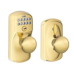 This Schlage plymouth single-cylinder bright brass keypad entry with knob features an adjustable bolt that resists kick-ins to protect your home. The handleset's backlit, programmable keypad allows for keyless entry.  Experience the freedom o...