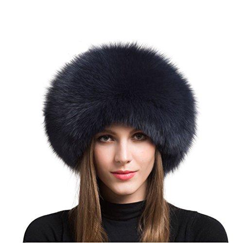 (Women's Real Fox Fur hat Winter Thick Fur hat Natural Fur and Sheepskin Warm hat (55-60cm, Navy Blue) )