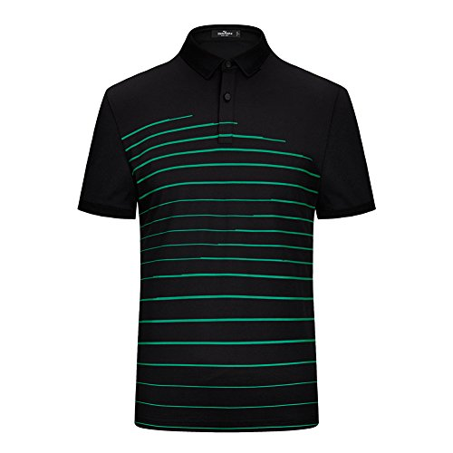 SevenBrand Men's Advantage Performance Solid Modern Fit Striped Short Sleeve Polo Shirt,Green Striped,Medium (Top Performance Colognes)