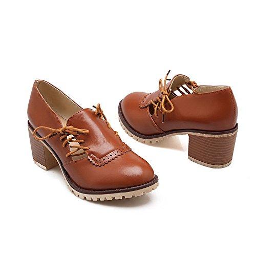 AllhqFashion Damen Mittler Absatz Weiches Material Rein Schnüren Rund Zehe Pumps Schuhe Braun