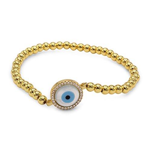 Evil Eye Brass Circle Charm Bracelet Mother of Pearl Cubic Zirconia (Circle Birthstone Charm)