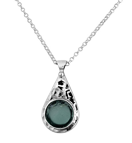 Sterling Silver & Roman Glass Hammered Drop Pendant Necklace - Hammered Drop Pendant