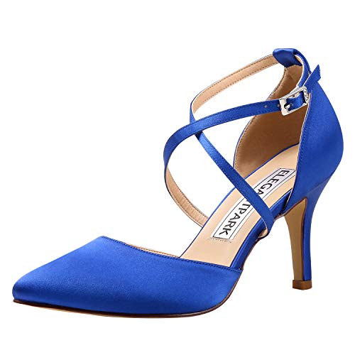 ElegantPark HC1901 Women Pointed Toe High Heel Pumps Straps Satin Wedding Bridal Evening Party Dress Shoes Blue US 7 (Cobalt Blue High Heels)