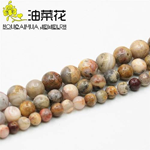 Calvas Round 6 8 10MM Brown Bamboo Leaf Onyx Necklace Natural Stone Beads Necklace DIY Fashion Jewelry Making Design Mother's Day Gifts - (Item Diameter: 8mm)