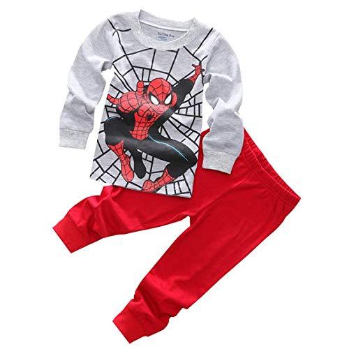 Boys Pajamas Sets Children Christmas Pants 100% Cotton Spider-Man Long Kids Snug Fit Pjs Winter Toddler Sleepwear (Grey, -