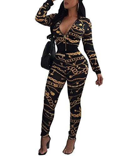 Tropical Print Jacket (Tracksuit Women Long Sleeve Tropical Chains Blazer Jacket Coat and Pants 2 Piece Set Suit Black Medium)