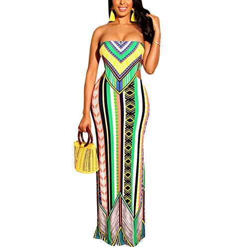 Aro Lora Women's African Print Boho Floral Sleeveless Dashiki Long Bodycon Maxi Dress Evening Large Green