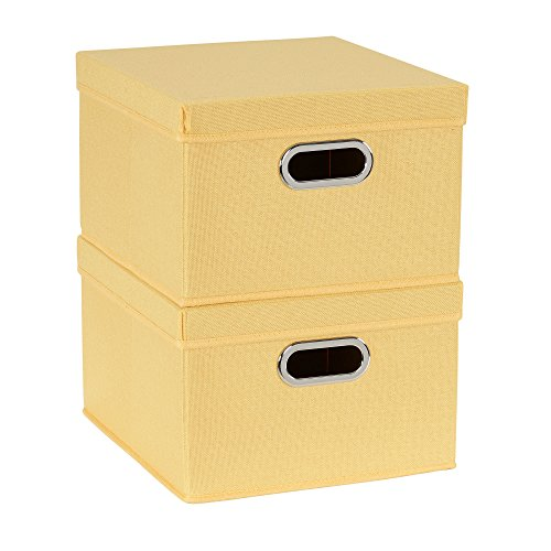 (Household Essentials 704-1 Bin Lids and Handles | 2 Pack | Yellow Fabric Box Set,)