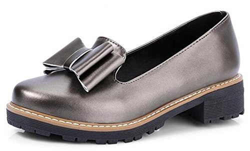 Easemax Womens Retro Bows Mid Heck Slip On Oxfords Shoes Grey