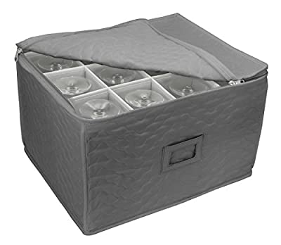 Sorbus Stemware Storage Chest - Deluxe Quilted Case with Dividers - Service for 12 - Great for Protecting or Transporting Wine Glasses, Champagne Flutes, Goblets, and more