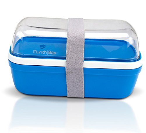 (Munch Box Crystal Edition (Blue) Multi-Compartment Bento Style Lunch Box with Utensils, See-Through Style)