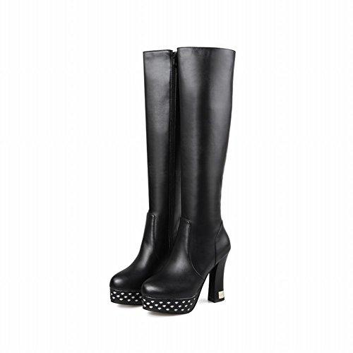 Carolbar Womens Zip Sequins Night Club Platform High Heel Tall Dress Boots Black GiyeO