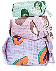 BAGGU 3D Zip Set, Expandable Nylon Zip Pouch 3 Pack For Travel And Organization, Tropical Fruit
