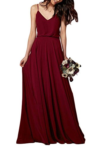EverLove Women's Long Spaghetti Straps Prom Dress Chiffon Bridesmaid Dresses Dark Red US2 (Dress Prom Dark Long)