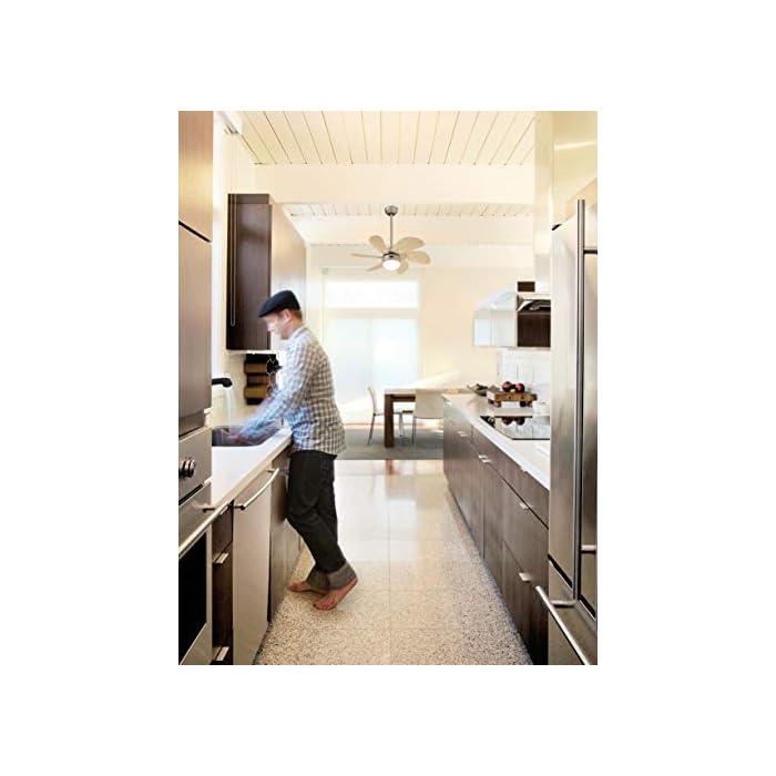 41z1UmkczML Zeitgemäßer 76 cm Innenraum-Deckenventilator in Titan-Ausführung für Räume bis 10 Quadratmeter Sechs Ahorn-farbene Flügel, für die Leuchte mit Opalmilchglas wird ein 60 Watt Leuchtmittel mit E14-Sockel benötigt (nicht im Lieferumfang enthalten), LED-geeignet Umschalter für Sommer- und Winterbetrieb, Fernbedienung oder Wandschalter nachrüstbar