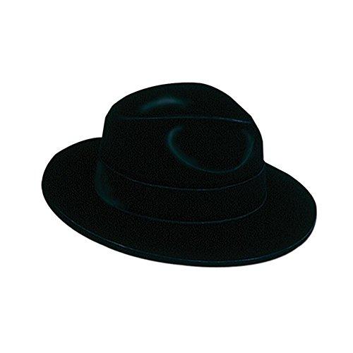 Black Velour Fedora - Plastic Backed -