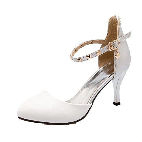 Blanc Femme Mélangées Fermeture Sandales Haut AgooLar d'orteil Talon à GMBLA013013 Couleurs vOqnpwAx