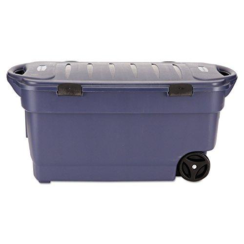 RUBBERMAID 45-Gallon Roughneck Wheeled Storage Box, Dark Indigo Metallic (RUB2463DIM) (Roughneck Tote Storage)